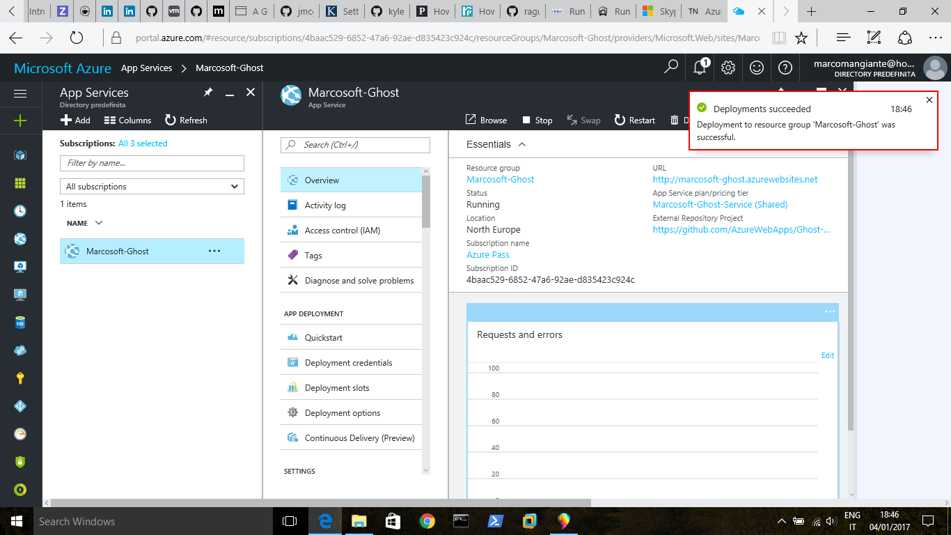 Ghost-Azure Marketplace termine deploy